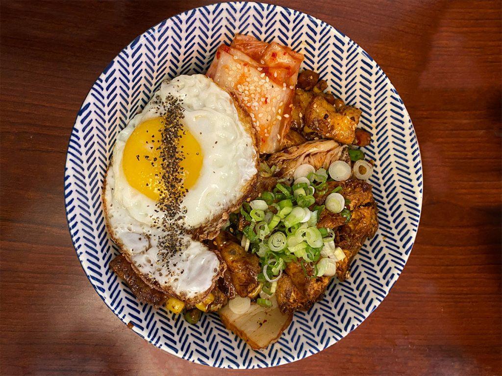Tofu Kimchi Rice Bowl from Aroma Bistro.