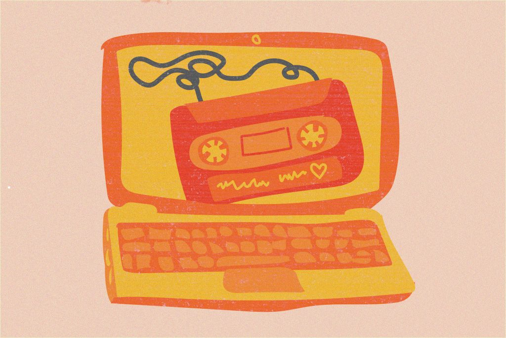 Illustration of a cassette on the screen of a laptop.