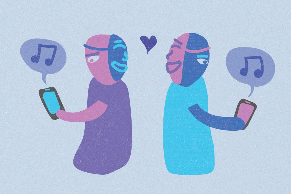 Illustration of two characters on their phones looking away from each other while wearing masks on the back of their heads.