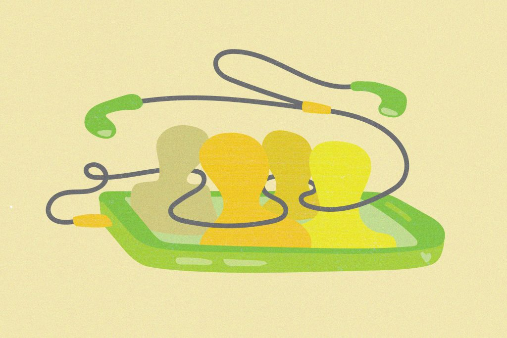 Illustration of four human silhouettes inside a phone with the headphone wire weaving around them.