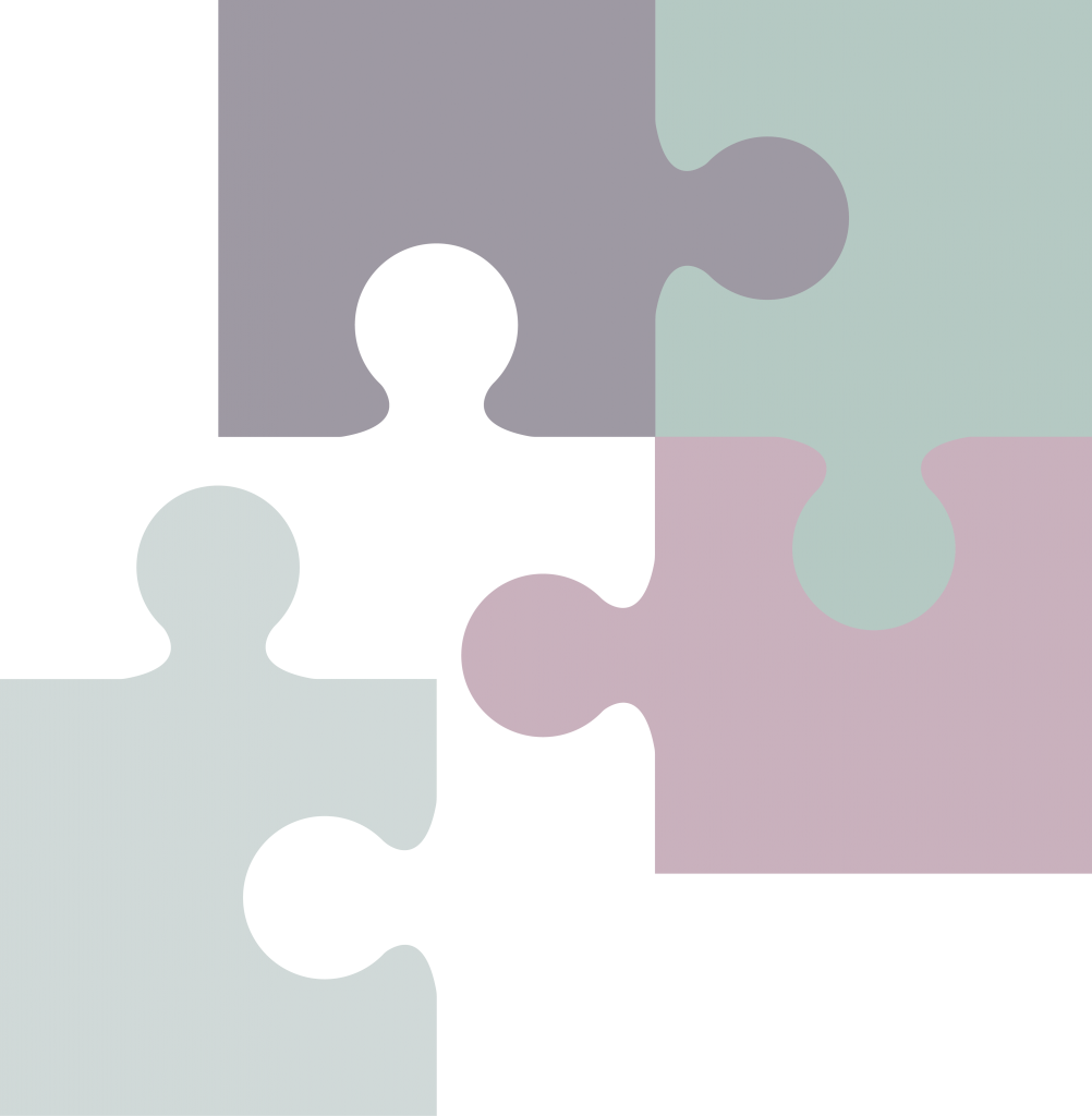 Four puzzle pieces as the last chapter marker, with the final piece not yet placed.