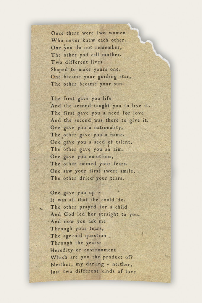 The poem 'Legacy of an Adopted Child.'