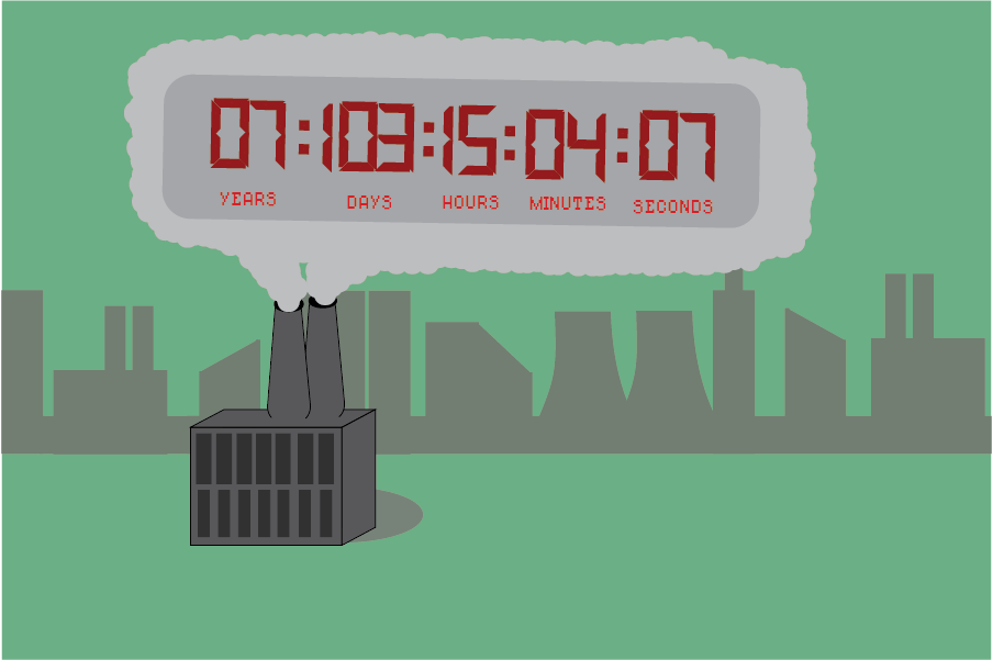 The carbon clock displayed in a puff of pollution.