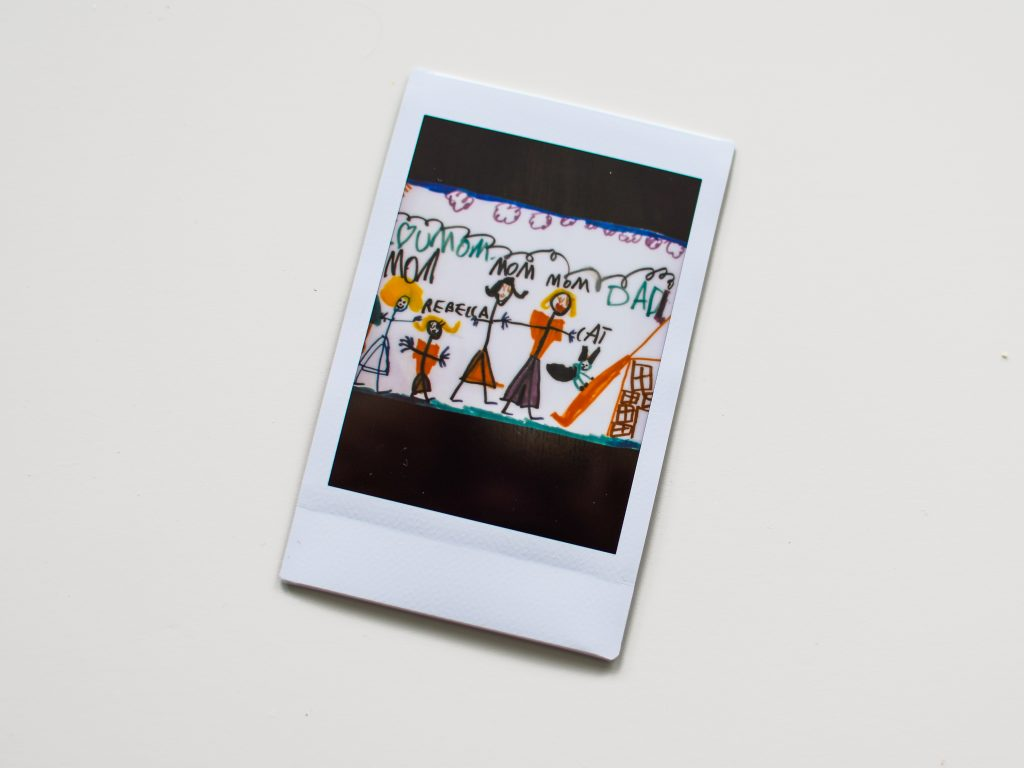 A polaroid image of a drawing Rebecca made when she was very young.
