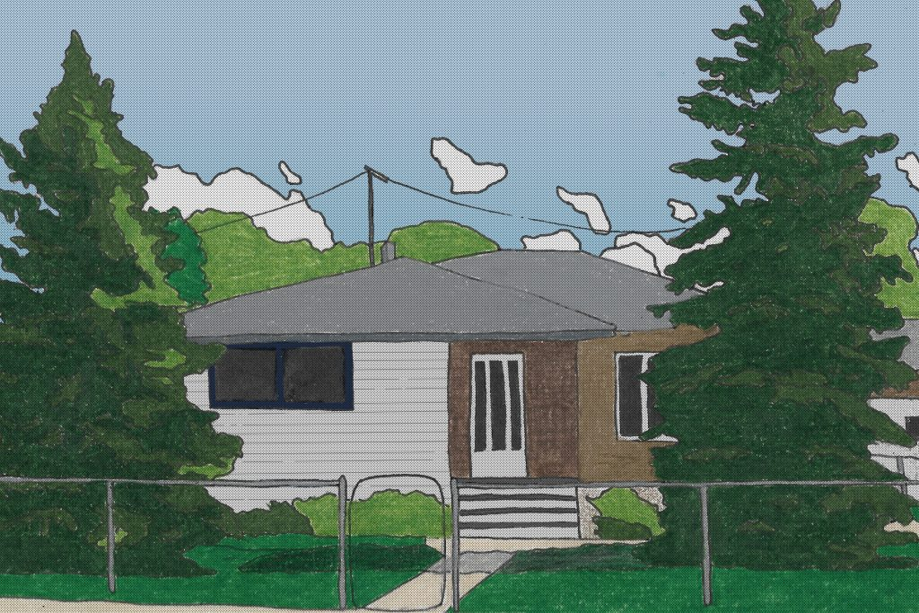 A pencil crayon drawing of a bungalow. There are two tall spruce trees on either side of the house. There's also trees, a telephone line, and tiny puffy clouds in the background.