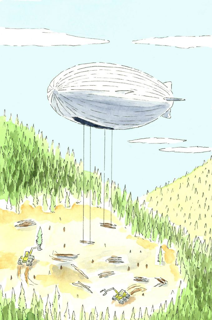 A Flying Whales airship winches cut lumber skyward