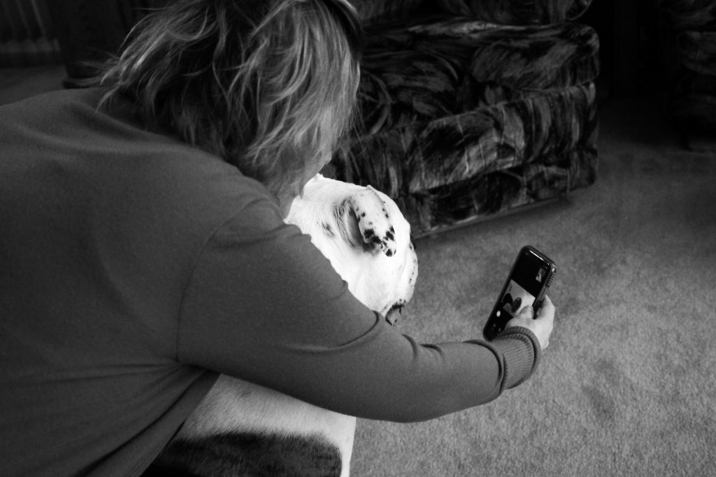 A woman in her 40s holds a smartphone at arm's length in front of a dog, so the person on the video call can see the animal. The dog is large and has spots.