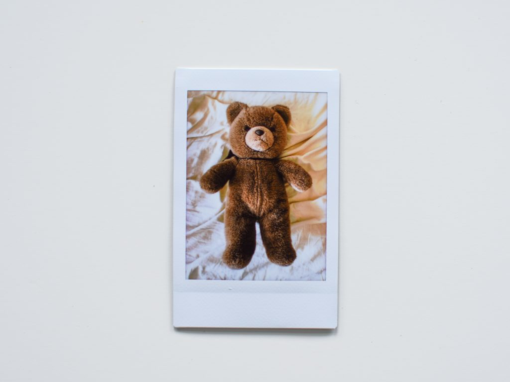 A polaroid image of  Rebecca's teddy bear.