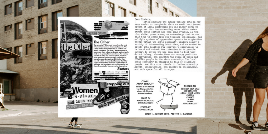 A picture containing cutout page from The Other Skaters zine over top of an image of two girls skateboarding.