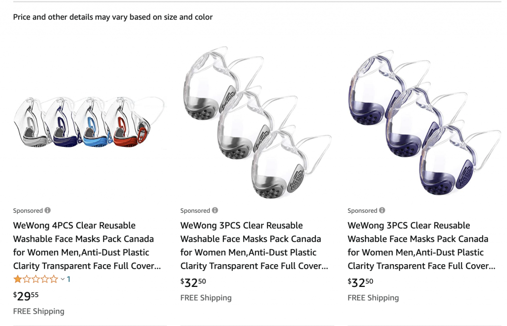 Clear face masks available for purchase on amazon.ca