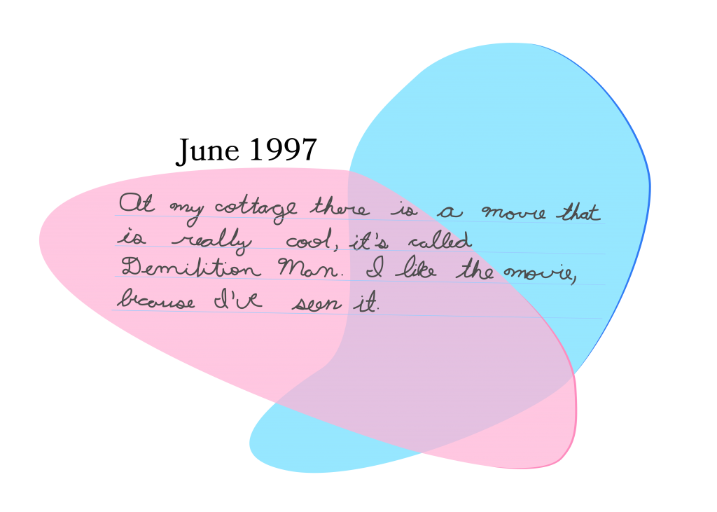 """An abstract blue and pink illustration behind a hand-written journal excerpt. Text: """"June 1997. At my cottage there is a movie that is really cool, it's called Demolition Man. I like the movie, because I've seen it."""""""