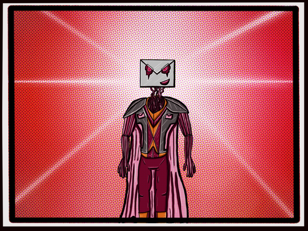 Illustration of supervillain Email-Man.