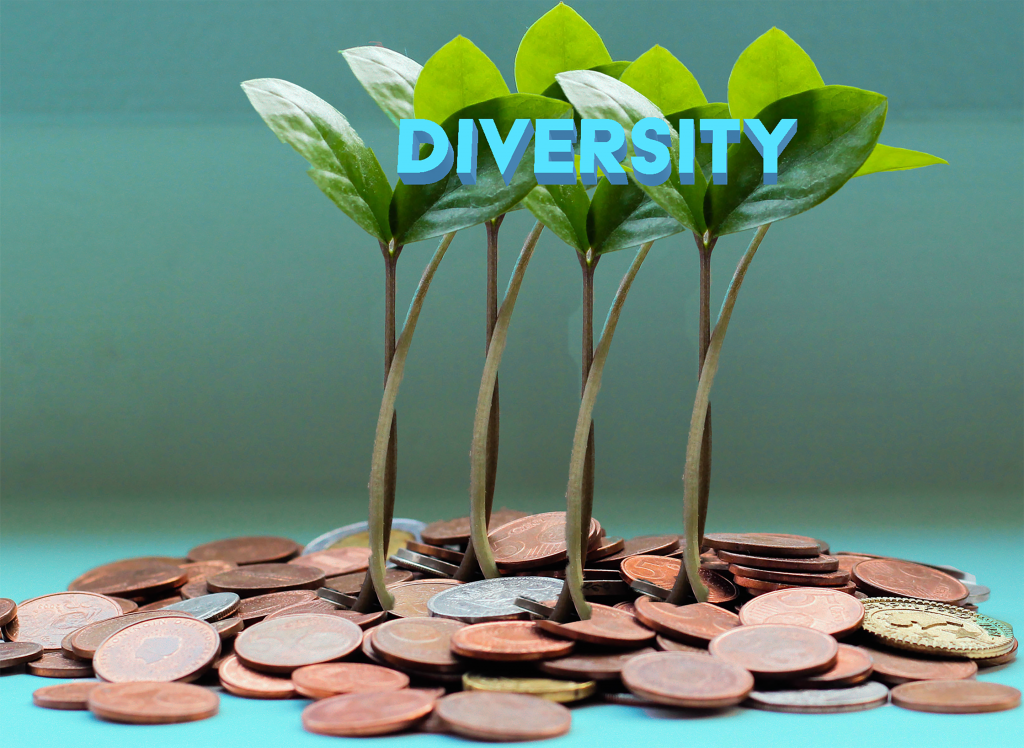 Leaves stemming from coins and the words diversity are on the tops o the leaves.