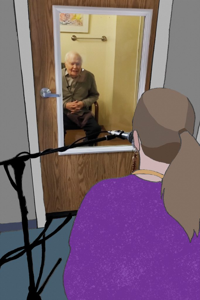 A drawing/photo composite of a woman facing an elderly man through a door with a window in it. She has a microphone in front of her, which she's using to communicate with him.
