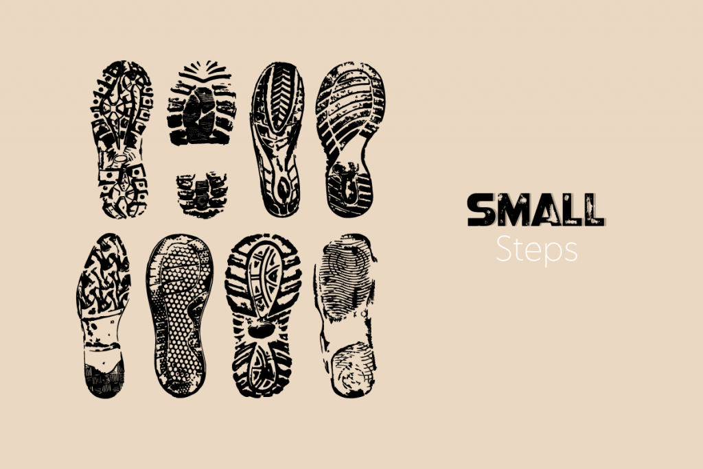"""8 black shoe-prints with the caption """"small steps"""""""
