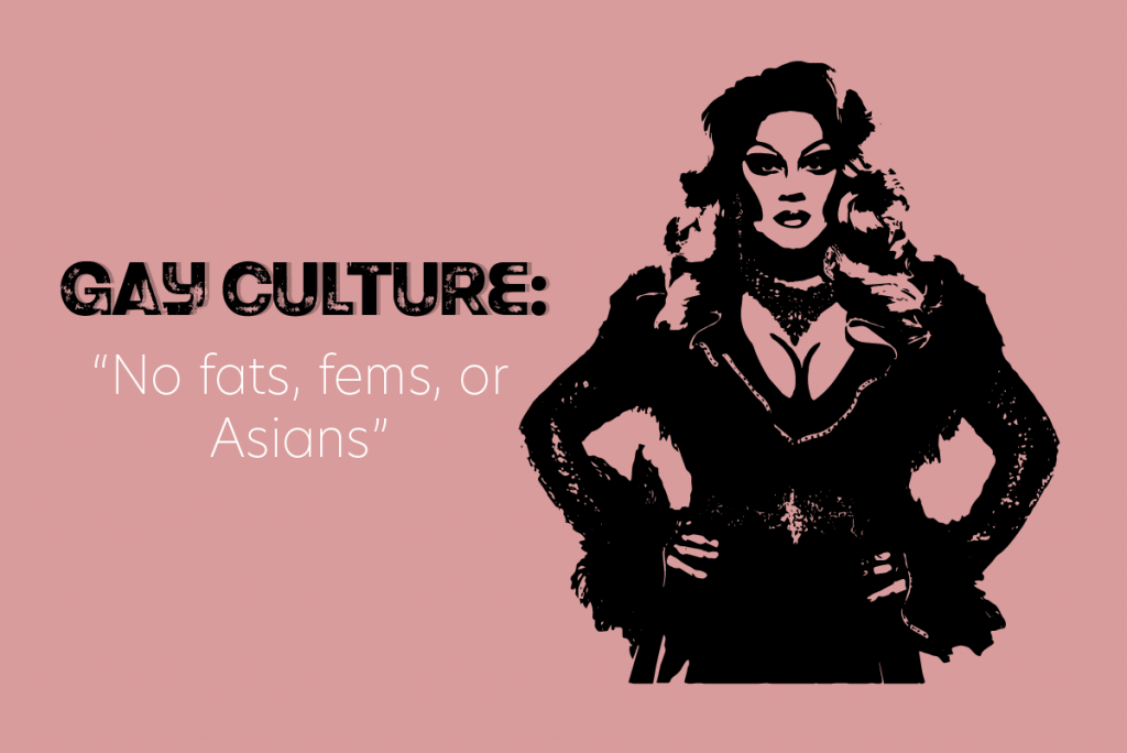 """An image of a drag queen with the caption """"Gay culture: no fats, fems or Asians"""""""
